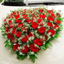 Flowers For Wedding Car Decoration Canada - Wedding Car Decoration For Artificial Flowers Silk Rose Babysbreath Wedding Party Events Supplies Pink Red Home Living Room