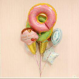 Sweet Boy Cartoon NZ - 50pcs Donuts Lollipop Birthday Party Balloon Kits, Sweet Boys Girls Pink Blue Rainbow Sprinkle Doughnut Foil Mylar Balloon