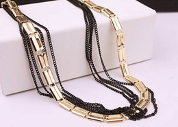 wedding thick gold chain Australia - European Trendy Fashion Thick Flat Gold Chain Multi Black Chains Necklace Sweater Long Chain Jewelry