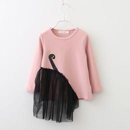$enCountryForm.capitalKeyWord NZ - New Girl Gauze Skirt Cartoon Swan T-shirts Spring   Autumn Long-sleeve Pink and Black Cute Tee.
