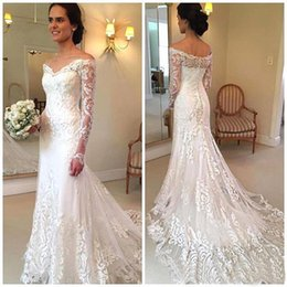 Barato Vestido Branco Longo Da Luva Longa-2017 New Arrival Elegant White Full Lace Off The Shoulder Wedding Dresses Sheer Long Sleeves Mermaid Bridal Gowns Com Varredura Trem BA4066