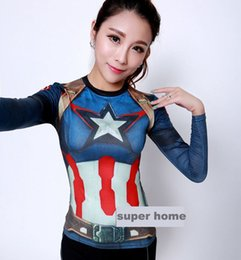 Barato Camiseta De Manga Comprida Spiderman-Atacado-30styles Mulheres T-shirt Bodys Armour Marvel traje Capitão América Camiseta / Superman / spiderman manga comprida Menina da aptidão calças justas
