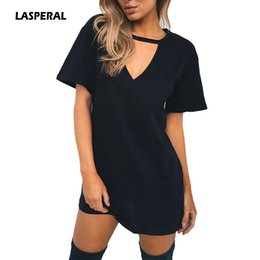 Venta Al Por Mayor Profundamente Del Vestido De V Baratos-Al por mayor-LASPERAL Summer T Shirt Dress 2017 Mujeres Deep V cuello de manga corta Sexy Party Dress Casual Camiseta Solid Dress Vestidos Femininos