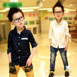 $enCountryForm.capitalKeyWord Canada - 2016 110-160 Big Boys Shirts Boat Anchor Print Long Sleeve Shirt Spring Autumn Cotton Shirt Girl Korean Kids Clothes White Blue K6170
