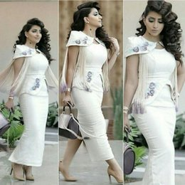 Discount apple flower tea - 2016 White Arabic Short Evening Dresses Myriam Fares Flowers Tassels Sheath Tea Length Short Cap Sleeves Moroccan prom P