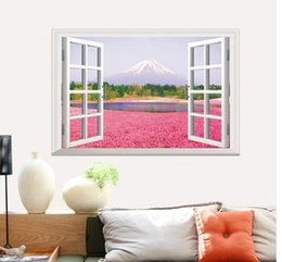 3d Sticker Flowers Canada - Window 3D View Flower Sea Wall Stickers Art Decal Mural Wallpaper Pink Sea Flower Scenery Living Room Decor Graphic
