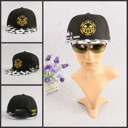 Cosplay Law Canada - Wholesale-Hot Anime One Piece Trafalgar Law Pirates of Heart Unisex Hip-pop Snapback Hat Adjustable BBOY Baseball Cap Cosplay Accessories
