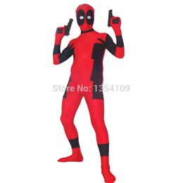 Costume Lycra Spandex Rouge Pas Cher-Costume rouge et noir mortpool Costume Halloween Party Cosplay ZenTai