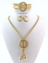 Moda banhado a ouro cadeia de cobra colar de cristal pulseira anel brincos conjuntos de jóias venda por atacado