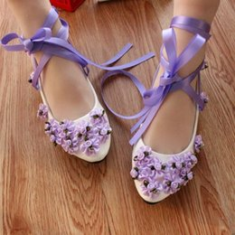 $enCountryForm.capitalKeyWord Canada - Purple manual wedding shoe flower shoes with flat belt with low bridesmaid shoes show photos soft bottom white paint @03