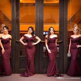 Discount beaded royal train wedding dresses - Navy Blue Burgundy Mermaid Bridesmaid Dresses Off Shoulder Cap Sleeves Beaded Vestido Longo Wedding Guest Dress Maid of