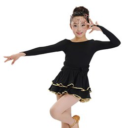 Robe Léopard En Latin Pas Cher-Manches longues pour enfants Multi Layer Dancing Wear Round Neck Slims Robe latine Performance Show Stage Costumes tls301