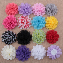 chiffon mesh flowers wholesale Canada - Baby Chiffon Multilayers Mesh Fabric Flowers For headbands Kids DIY Christmas Hair Accessories Hairpin Headwear Clothes Accessories AW11