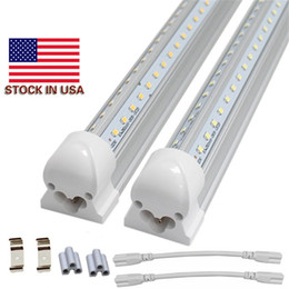 Chinese  8ft led tube lights T8 V shaped led lights integrated 2ft 3ft 4ft 5ft 6ft 8ft cooler lighting double row shop lights fixture manufacturers