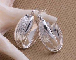 Мода (изготовление ювелирных изделий) 40 шт много 2 печать круг серьги стерлингового серебра 925 заводская цена мода обуви серьги