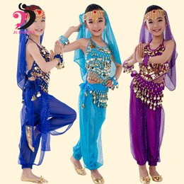 Barato Dança Do Ventre Traje Conjunto Azul-New Handmade Children Belly Dance Trajes Set Kids Belly Dancing Girls Bollywood Indian Performance Cloth Whole Set 6 Colors