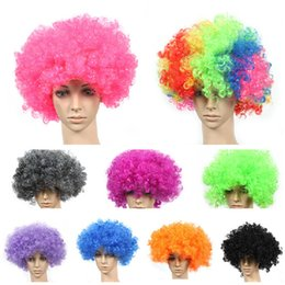 football fans wigs 2020 - new arrive clown wig Football Fan Party Wigs colors Afro Clown Hair Child Adult Costume Football Fan Wig Hair 13 colors