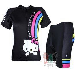 e49a03940 #025 Hello Kitty Black color Women Short Sleeve Cycling Kit Bike outlet  ciclo Jersey + Shorts Plus Size maillot Geniune Paladin