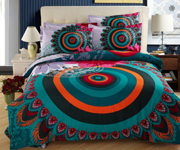 Peacock Bedding Full Canada - Bohemia bedding sets BOHO style duvet cover full queen size double cotton bed sheets bedspread linen quilt Peacock feather print