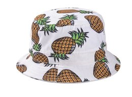 Wide Brim Navy Hat Canada - Wholesale-Promotions reversible boonie beach fisherman sun protection casual travel white navy pink pineapple bucket hat cap women men