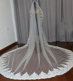 one tier long wedding veil NZ - Single Tier Long Wedding Veils with Fully Lace Edge 3 Meters Mantilla Bridal Veil with Comb Wedding Accessories V1600
