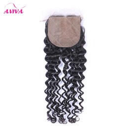 Discount unprocessed virgin hair silk closure - Silk Base Closure Peruvian Indian Malaysian Brazilian Top Lace Hair Closure Unprocessed Remy kinky curly Virgin Hair Ext