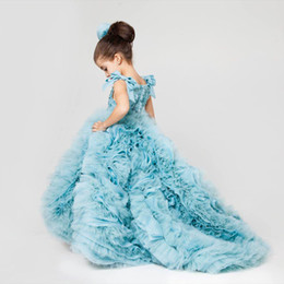 Chinese  Sky Blue Girl's Formal Dresses Bow Spaghetti Sequins Top Ruffle Lower Part Flower Girl Dresses Sweep Train Girls Pageant Dress manufacturers