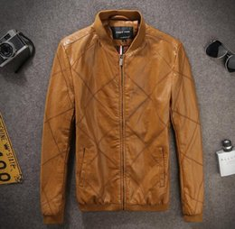 Wool Leather Motorcycle Jacket Canada - Top Famous Slim West cowboy Motorcycle Leather jackets Fashion zipper biker slim fit leather PU jackets for Male mix order