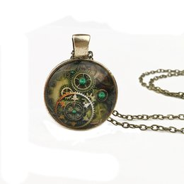 $enCountryForm.capitalKeyWord Canada - Mechanical Watch wheel gear Pendant Necklaces Charm Chains Time gem glass Statement Vintage Ancient Bronze Glass Cabochon jewelry Free DHL