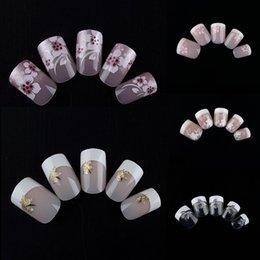 Barato Dicas Curtas De Unhas Falsas-MELHA MELHORADA 5 Conjuntos / Lote (24pcs / set) Short Full French False Nails Fake Uñas Acrílico Nail Art Artificial Nail Tips Manicure