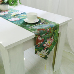 Discount Table Linen Designs BZ372 Classical Runner Green Lotus Printed Chemin De New Design