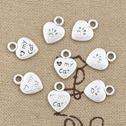 TibeTan silver caT pendanT online shopping - 300pcs Charms heart love my cat mm Antique Zinc alloy pendant fit Vintage Tibetan Silver DIY for bracelet necklace
