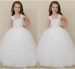 $enCountryForm.capitalKeyWord Canada - White Tulle Spaghetti Straps Flower Girl Dresses A Line Puffy Floor LENGTH Stunning Sequins Flower Girl Gowns Formal Kids Pageant Gowns