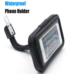 Wholesale Motorcycle Phone Holder Rearview Mirror Mount Mobile Phone Holder with Waterproof Case Bag for iphone plus plus s