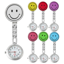 Discount nurse doctor pocket watch - New Smile Face nurse watch Doctor Metal Stainless Nurse Medical Clip Pocket watch multicolor for choice DHL free shippin