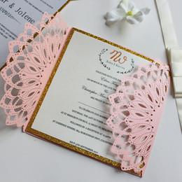 custom made invitation card for wedding engagement anniversary pink gold inner card free printing free ship - Make Wedding Invitations Online