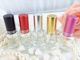 $enCountryForm.capitalKeyWord NZ - 50pcs 6ML Clear Round Glass Perfume Bottles with Colorful cap ,glass small roll-on Fragrance & Deodorant Refillable bottle