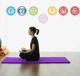Discount symbol decor - 7PCS set 19X19CM Chakras wallpaper Stickers Mandala Yoga Om Meditation Symbol Wall Decal Chakra Home Decor Wall Decorati