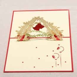 Sale Christmas Cards Canada - 130mm*160mm High quality Handmade Christmas bell Greetings Cards Kirigami 3D Pop up Card Hot Sale Free Shipping