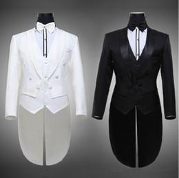 Royal Performance Suits Australia - Hot 2016 Tailcoat Groom Tuxedos Best Man Groomsmen Men Wedding Suits Notch Lapel Performance Suit Black & White (Jacket+Pants+Tie+Vest) 652