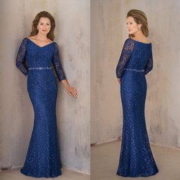 Barato Bolero Vestidos Mãe Noiva-Elegant Blue Mother of the Bride Dresses 2018 3/4 mangas Full Lace Moms Vestidos Plus Size Crystal Sash Vestidos de noite Bolero