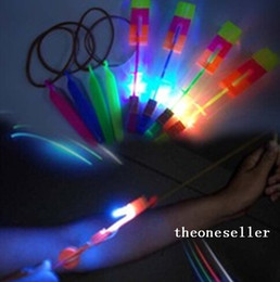 parachute arrow NZ - LED Amazing Flying Arrows Helicopter Umbrella Light Parachute Kids Toys LED Flying Toys DHL Free Shipping