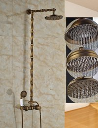 "$enCountryForm.capitalKeyWord Australia - Classic Antique Brass Round Rain Shower Head Faucet Hot Cold Mixer Valve Hand Shower Sprayer 8"" Shower Wall Mounted"