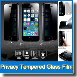 privacy film for glass Canada - Anti-spy Privacy Premium Real Tempered Glass Phone Screen Protector Film for iPhone 6 Plus 5 5s 4 4s