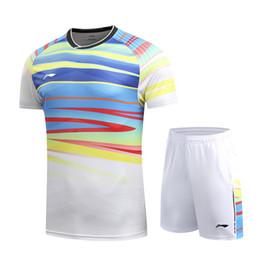 venda por atacado Hot Li Ning badminton tênis de mesa homens e mulheres roupas de manga curta T-shirt, roupas masculinas de tênis (camisa + shorts), de secagem rápida