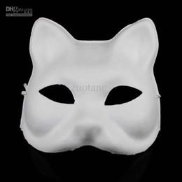 $enCountryForm.capitalKeyWord NZ - Cat DIY Blank Unpainted Masks Paper Pulp Plain White Hand Painting Fine Art Program Mask for Birthday Christmas Party 10pcs lot