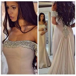Barato Saias Elegantes Do Partido Formal-2018 Elegante New Crystals Formal Mermaid Evening Dresses Bling Crystal Beaded Prom Vestidos Com Chiffon Skirt Off the Shoulder Party Gowns