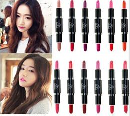 3ce Makeup Canada - Newest double shot head end Lip Gloss 12 Colors 3CE Makeup Lip Stick Pen 3 concept eyes lip gloss velvet matte