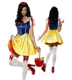 Costumes De Princes Adultes Adulte Pas Cher-Grosses soldes! Adulte blanc neige costumes d'halloween pour les femmes Blanche-Neige Princesse Costume Femmes Sexy Robe Cosplay Costume