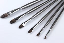 $enCountryForm.capitalKeyWord NZ - Wholesale-Badger Hair Oil Brush set 6 pcs Long Handle Painting Brush Quality Paint Brush for Artist 108